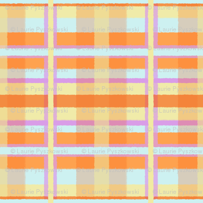 Fuzzy Plaid in Lavender, Blue, Orange & Yellow