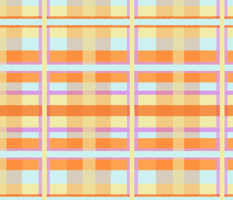 Fuzzy Plaid in Lavender, Blue, Orange & Yellow fabric by lauriekentdesigns on Spoonflower - custom fabric