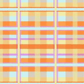 Fuzzy Plaid in Lavender, Blue, Orange & Yellow