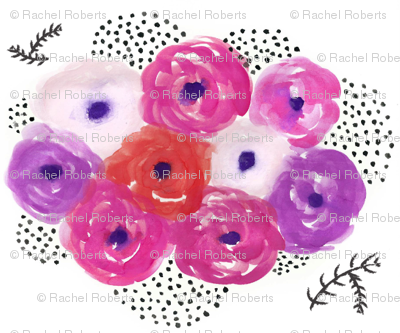 Watercolor Floral Bouquet - Smaller Version - Pink and Purple floral