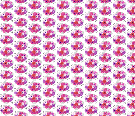 Watercolor Floral Bouquet - Smaller Version - Pink and Purple floral fabric by modfox on Spoonflower - custom fabric