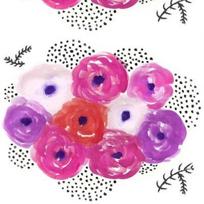 Watercolor Floral Bouquet - Pink and Purple Floral