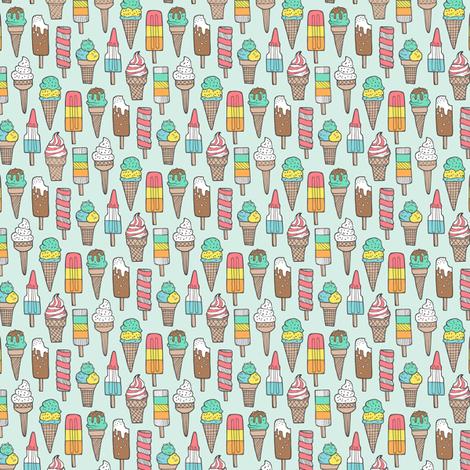 Ice Cream on Mint Tiny fabric by caja_design on Spoonflower - custom fabric