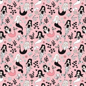 Sweet little mermaid girls theme with deep sea ocean coral illustration details pink black and white XS
