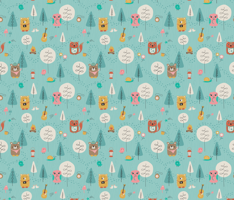 Let's Camp fabric by studiocarrie on Spoonflower - custom fabric