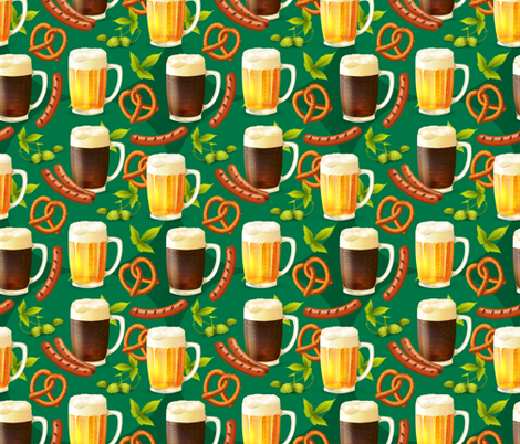 Octoberfest Beer, Bratz, Hops and Pretzles fabric by khaus on Spoonflower - custom fabric