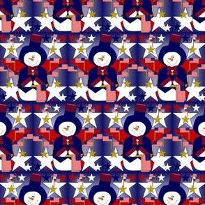 Patriotic, Americana, 4th of July, Red, White & Blue Snowman, Stars & Flags Fabric #1