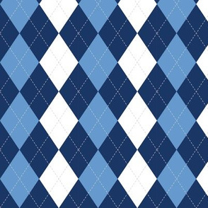 Blue Argyle Diamond Pattern Preppy Pattern, Light Blue and Dark Blue