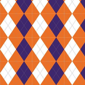 Orange and Purple Argyle Diamond Pattern Tigers