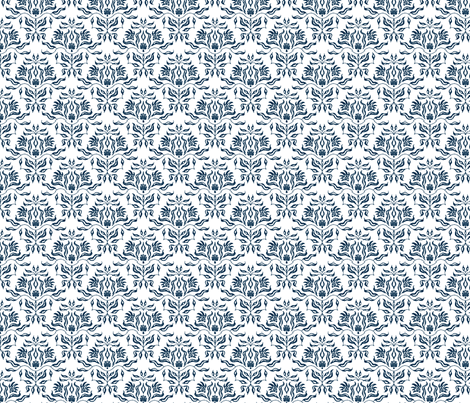 Seaweed Damask- Navy/White fabric by sugarpinedesign on Spoonflower - custom fabric