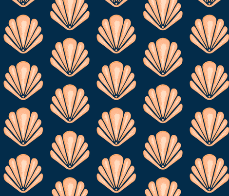 Clamshells -Navy/Coral fabric by sugarpinedesign on Spoonflower - custom fabric