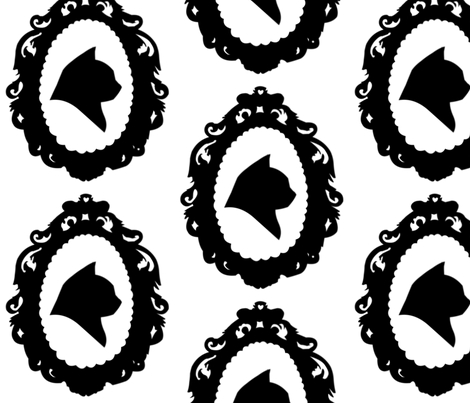 Cat Cameo fabric by a_frayed_knot on Spoonflower - custom fabric