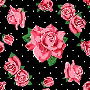 Roses on black with white polka dots