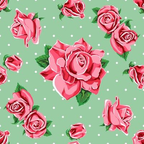 Roses and white polka dots on green