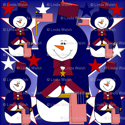 Patriotic, Americana, 4th of July, Red, White & Blue Snowman, Stars & Flags Fabric #2