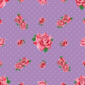 Roses and polka dots on purple, version 2
