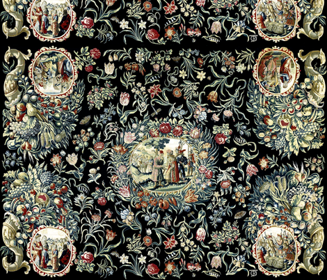 victorian baroque floral flowers horn plenty fruits peaches pomegranates grapes pears plums roses butterfly berry cherry kings antique shabby chic romantic neoclassical berries cherries barley wheat rye royalty palace butterflies leaf leaves fabric by raveneve on Spoonflower - custom fabric