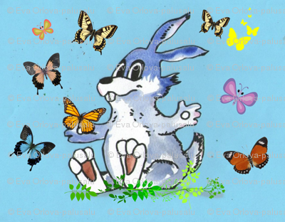 Rabbit and Butterflies in Blue