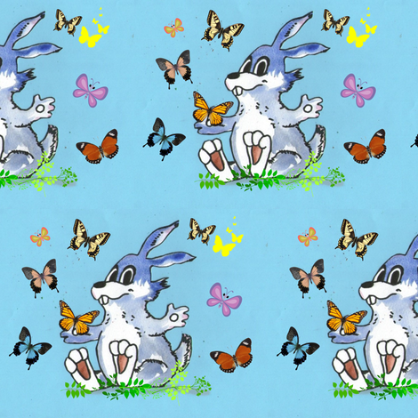 Rabbit and Butterflies in Blue fabric by palusalu on Spoonflower - custom fabric