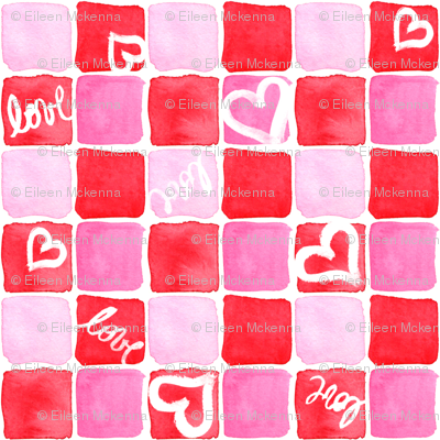 Red & Pink Watercolor Squares