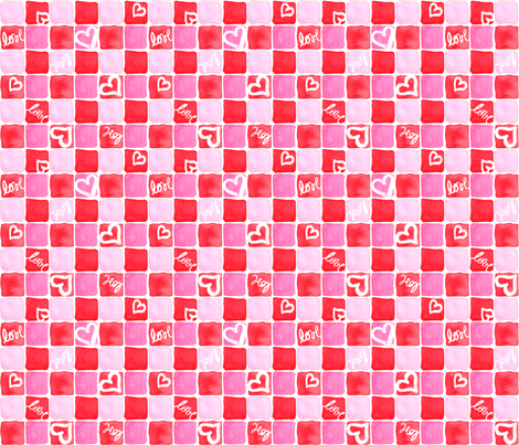 Red & Pink Watercolor Squares fabric by eileenmckenna on Spoonflower - custom fabric