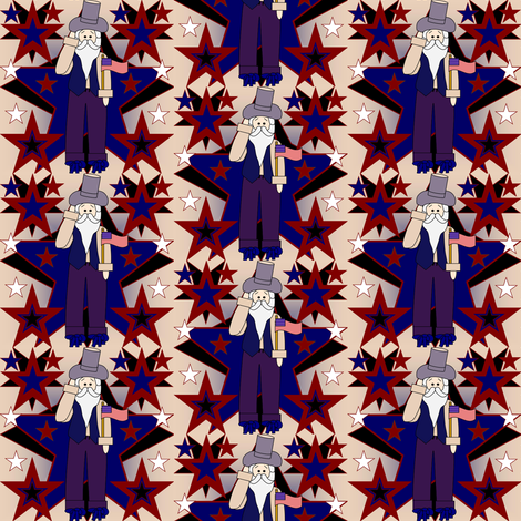 Uncle Warren Patriotic, Americana, 4th of July, Stars Primitive Fabric #3 fabric by lworiginals on Spoonflower - custom fabric