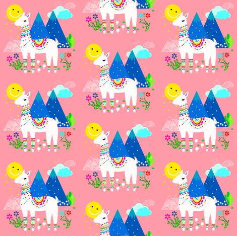 Llama in Pink fabric by shopcabin on Spoonflower - custom fabric