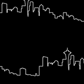 Seattle Skyline - White on Black