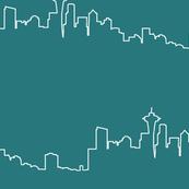 Seattle Skyline - Turquoise