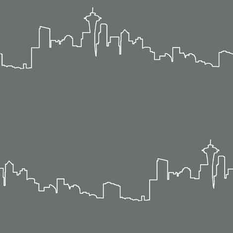Seattle Skyline - Grey Fog // Large fabric by thinlinetextiles on Spoonflower - custom fabric