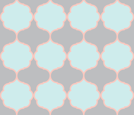 Hexafoil BlueMint Coral Gray fabric by arm_pillozzz on Spoonflower - custom fabric