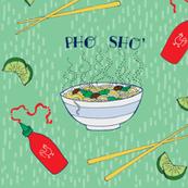 Pho Sho - vietnamese noodle soup on green