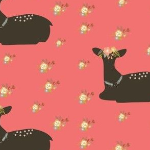 Pretty floral fawn deer