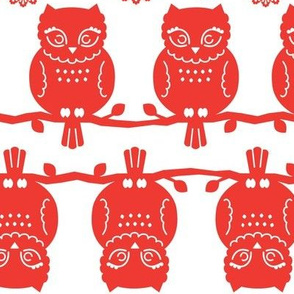 owl border in red