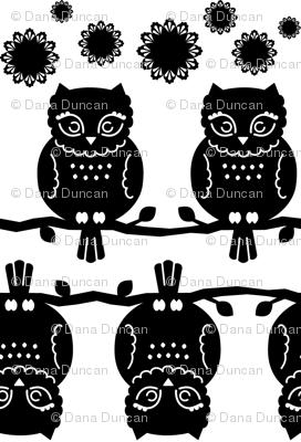 owl border in black & white