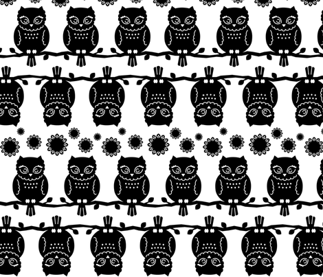 owl border in black & white fabric by pinkowlet on Spoonflower - custom fabric