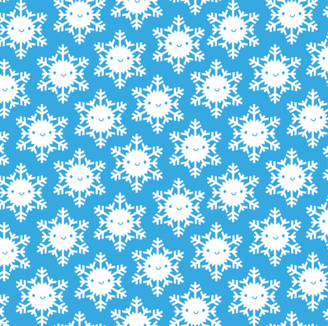 Kawaii Winter Snowflakes (Blue Sky) fabric by marcelinesmith on Spoonflower - custom fabric