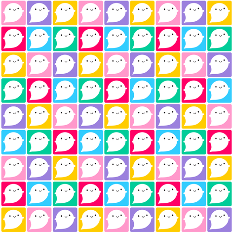 Colourful Kawaii Little Ghosts fabric by marcelinesmith on Spoonflower - custom fabric