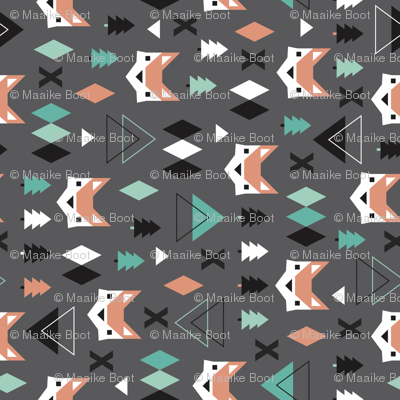Geometric fox and pine tree illustration pattern rotated