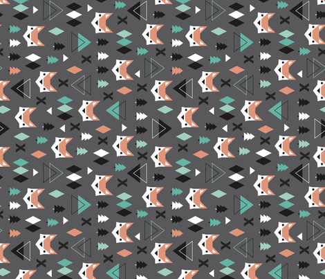 Geometric fox and pine tree illustration pattern rotated fabric by littlesmilemakers on Spoonflower - custom fabric