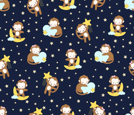 Night Night My Little Monkey fabric by anom-aly on Spoonflower - custom fabric