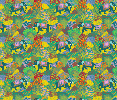 Elephants in the jungle fabric by anchoafabrics on Spoonflower - custom fabric