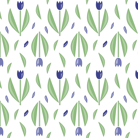 Graphic tulips Blue fabric by align_design on Spoonflower - custom fabric