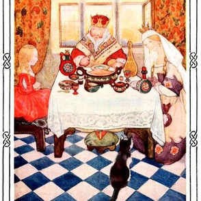 cats princesses kings queens meals food palace royalty harlequin fairy tales castles lunch vintage retro kitsch