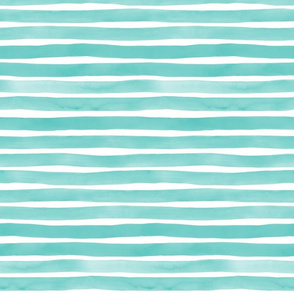 Aqua Blue Watercolor Stripes by Friztin