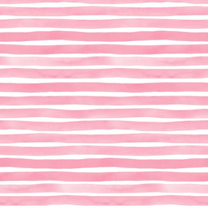 Bubblegum Pink Watercolor Stripes by Friztin