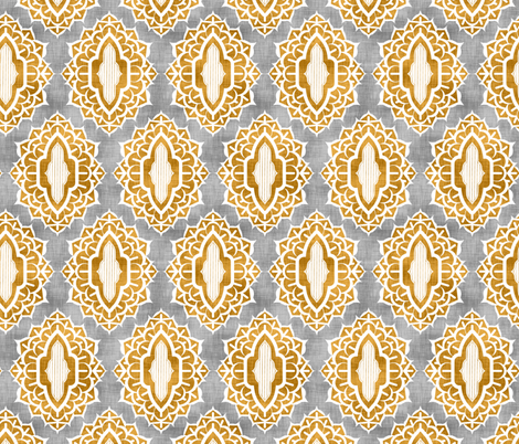 Arabesque Medallions Gold fabric by pond_ripple on Spoonflower - custom fabric