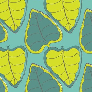 Tropical Leaves on Teal_Miss Chiff Designs