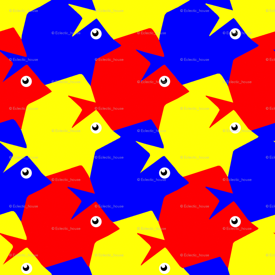 Tesselating Fish Primary Colors fabric - eclectic_house - Spoonflower