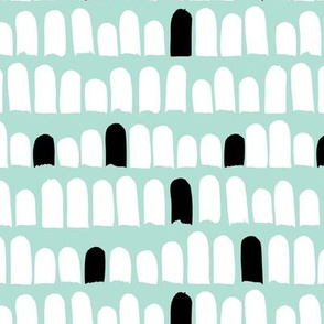 Scandinavian scallop abstract paint and brush stroke stripes and spots mint black and white